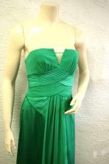 448 BCBG EMERALD PLEATED STRAPLESS SATIN/SILK LONG DRESS GOWN NWT 2
