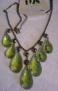 1928 OLIVINE TEAR DROP LUCITE CRYSTAL NECKLACE NWT