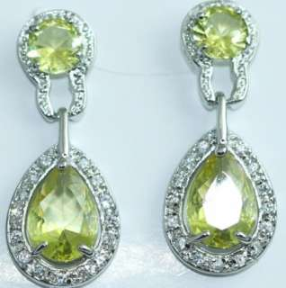 COLOR CRYSTAL SILVER PLATED BRIDAL PROM BEAUTY PAGEANT EARRINGS
