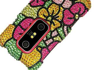 FLOWERS BLING CRYSTAL CASE COVER HTC EVO 3D Shiny BEDAZZLED