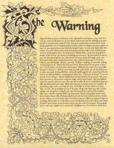 Book of Shadows page The Warning about Wicca
