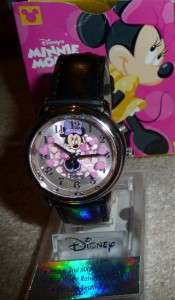 RARE Disney Minnie Mouse Animated Pink Hearts black leather watch HTF