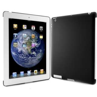 Rubber Black Back Snap On Hard Shell Case Cover for iPad 2 work with