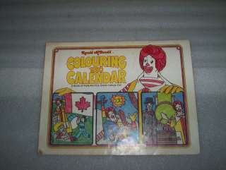 Canada Kids Ronald McDonald Colouring Book Calendar & Coupons
