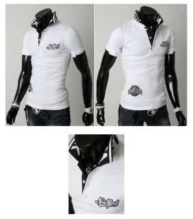 Slim Fit New York Polo Collar Short Sleeve T Shirts Top L XL