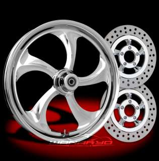 CHROME WANARYD ROLLIN FRONT WHEEL, TIRE, ROTORS HARLEY FLH FLHR FLHX