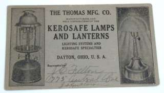 Victorian Business Card Thomas Kerosafe Kerosene Lamps