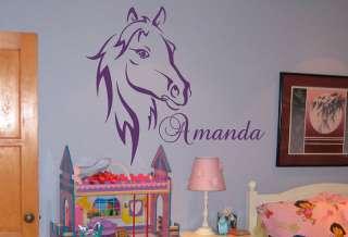 Custom Name Text Horse Head Vinyl Wall Art Sticker Decal