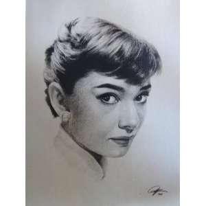Audrey Hepburn Sketch Portrait, Charcoal Graphite Pencil