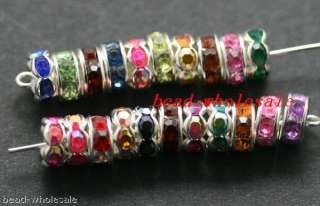 1000pcs mixed color crystal&silver plated spacer 6mm