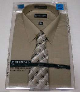 New Stafford Mens Shirt/Tie Gift Box Set Khaki Dress Shirt Striped