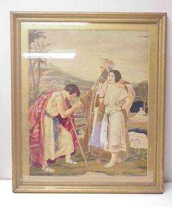 ANTIQUE LARGE NEEDLEPOINT WOOD FRAMED BIBLE SCENE 26