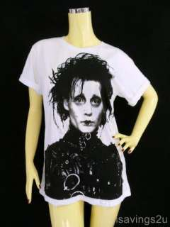JOHNNY DEPP T shirt, Edward Scissorhands WHITE S M or L