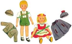 Vintage Swiss Boy & Girl Stuffed Cloth Dolls Pattern
