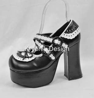 23 goth gothic lolita platform black white mary jane shoes 8