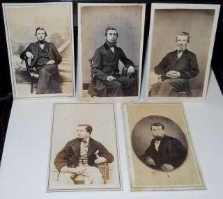 Antique Civil War Era Men Sitting CDVs w/1 tax stamp