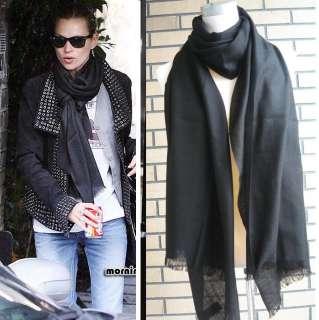100% Wool Fashion Solid Black Wool Scarf Shawl Wrap