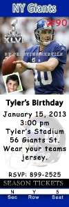 Birthday Invitations New York Giants & New York Jets