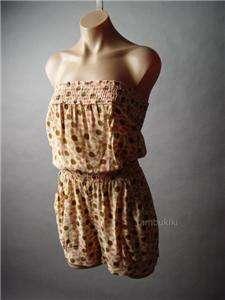 DAISY Floral Print Strapless Tube Top Blouson Jumper Shorts Playsuit
