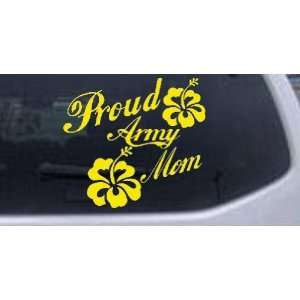 Proud Army Mom Hibiscus Flowers Military Car Window Wall Laptop Decal