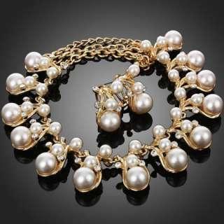 Rhinestone Necklace Earrings Set Swarovski Crystal 18k Gold GP