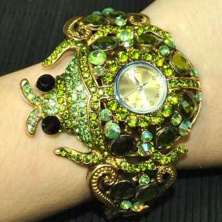 Green swarovski crystal ladybug bracelet watch 0066