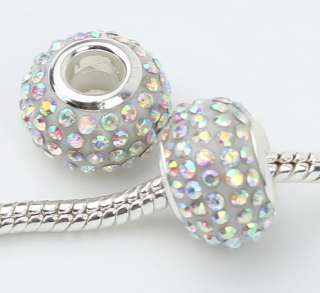 2pcs AB white Swarovski Crystal Beads fit bracelet