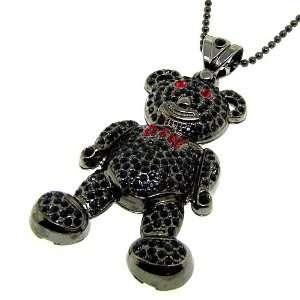 Gunmetal Teddy Bear bling bling hip hop pendant necklace new Jewelry