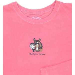 LIFE IS GOOD HOLD YOUR HORSES L/S CRUSHER TEE   WOMENS