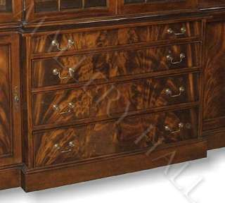 English Mahogany Break Front China Cabinet Four Drawers Glass Hutch