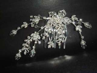 Bridal Crystal Rhinestone Headpiece Flower Hair tiara Comb RB256