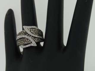 LADIES 10K WHITE GOLD CHOCOLATE BROWN 1 CT DIAMOND LEAF RING