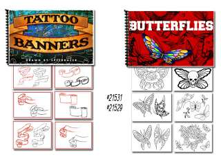 Tattoo Flash Art Books Stars Sun Moon Banners Scrolls