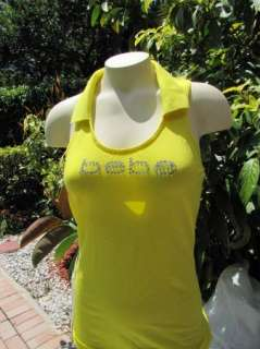 BEBE logo crystals t shirt yellow top tank collar 173149