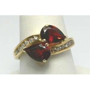 Stunner Garnet & Diamond Gold Ring