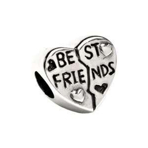 24821 Silver 11.00 Mm Kera Best Friend Heart Bead Jewelry