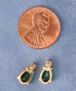 14k Gold Diamond & Teardrop Green Stone Post Earrings