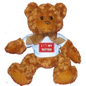 I LOVE MY TATTOO Plush Teddy Bear with BLUE T Shirt Toys