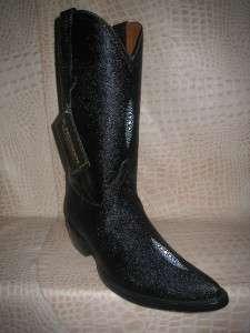 Mens Embossed Full Stingray Diamond Leather Black Boots