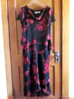 NWT CHILI PEPPERS Dress Mill Tiered Black with Red Flowers Chiffon