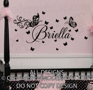 Butterfly Personalized Name Vinyl Wall Decal Lettering Nursery Girls