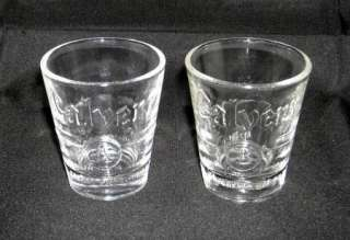 SET OF 2 CALVERT SHOT GLASSES EMBOSSED A & B