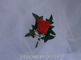 Red silk Rose Mens Boutonnieres, Quinceanera Flowers