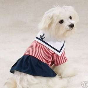 Casual Canine Paw Harbor Sailor Dog Dress SMALL  Kitchen