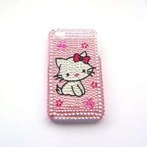 Hello Kitty cat Rhinestone Bling Crystal back cover case for Iphone 4