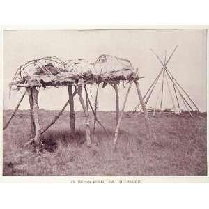 1893 Print Prairie Burial Native American Indian Buel