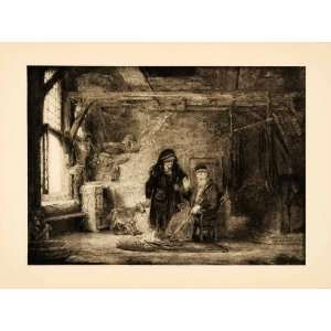 1907 Photogravure Man Wife Goat Tobit Barn Rembrandt Dutch