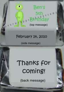SPACE ALIEN UFO Candy Wrappers Kiss Labels PARTY FAVORS