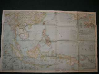 1944 SOUTHEAST ASIA NATIONAL GEOGRAPHIC MAP
