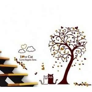 Tall Tree Love Cats Hearts Clouds Approx 60 Inches or 5 Feet